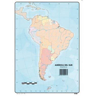 Mapa Mudo América del Sur Físico A4 (10 ud.)