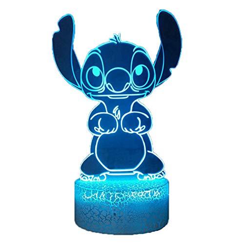Bella Stitch - Lampada notturna a LED 3D con luce notturna, Lilo & Stitch, 16 colori, lampada da tavolo per ragazze, lampada notturna a distanza per la cameretta del bambino, regalo di compleanno per bambini di Natale
