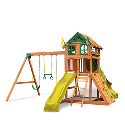 Gorilla Playsets 01-1075-Y Outing Wood Swing Set with Wood Roof and Twister Tube Slide - Yellow Slides, Amber