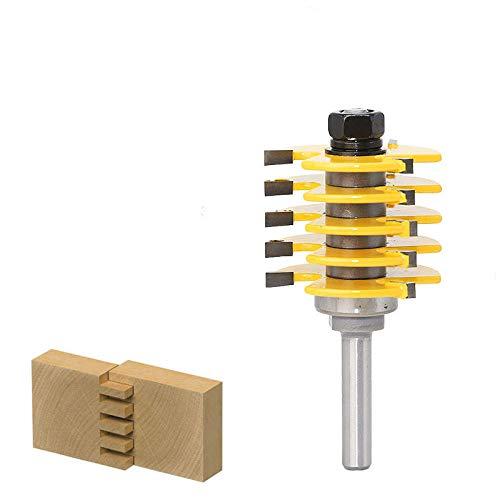 Broca de enrutador de junta de caja de vástago de 8 mm - 5 cuchillas ajustables - 3 flautas - 8 vástagos para cortador de espigas de madera para herramientas de carpintería