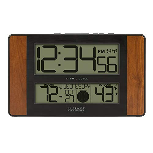 La Crosse Technology 513-1417CH-INT Atomic Digital Clock with Temperature and Moon Phase, Cherry