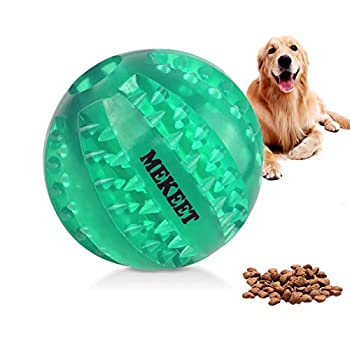Dog Toy Ball, Dog Food Ball Tooth Cleaning Play Ball, Nontoxic Bite Resistant Toy Chew Ball for Small Medium Large Dog Puppy Cat (Green)