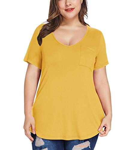 MONNURO Womens Plus Size Sexy Shirts Casual V Neck Short Sleeve Tunic Top with Pocket(Yellow,3X)