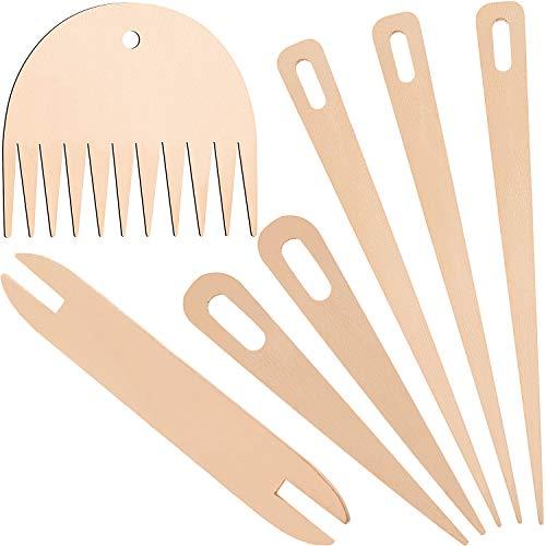 7 Pezzi Set di Bastoncini per Telaio in Legno, Include 5 Pezzi Aghi per Uncinetto per Tessitura in Legno con Il Bastone di Tessitura delle Navette di Legno e Pettine per Tessitura in Legno
