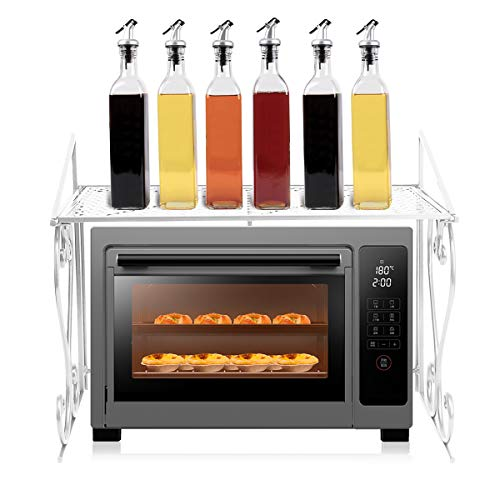 Maisax Küchenregal Arbeitsplatte Mikrowelleregal Eisen Standregal Küchengeschirrregal 55cm L x 46cm W x 36cm H (Weiß)