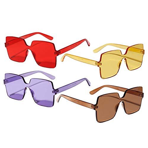 Colcolo 4X Mujeres Hombres Gafas de Sol de Una Pieza Gafas de Sol de Diseñador de Verano Sin Montura Sombras