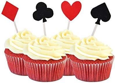 HOKPA Casino Cupcake Toppers Glitter Poker Playing Cards Cupcake Picks Muffin Fruit Food Picks product image