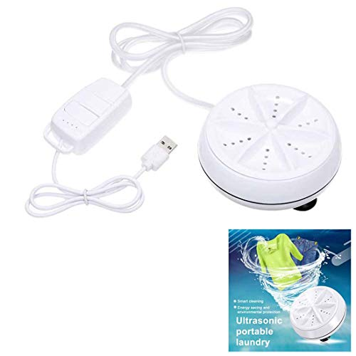 USB Mini Washing Machine Portable Rotating Ultrasonic Turbine Laundry Washer for Home Travel Business (A)