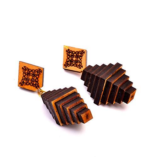 Magníficos pendientes de madera tallada tribales grandes de 3.5 pulgadas AB-1326