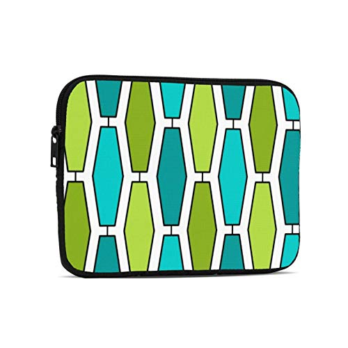 Mod Elongated Hexagon Teal And Green Laptop Case Protective Sleeve Bag Briefcase Work Business Slim Tablet Handbag for 9.7 inch Notebook Tablet