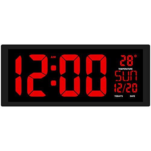 XJYA Digitaler Wecker, 14 '' LED-Anzeige Taktdimmer, Großes Display Zeit Temperatur USB/Batteriebetrieben Für Zuhause, Büro, Kinder Schlummern Funktion Nachttisch Wecker Für Schlafzimmer, Küche