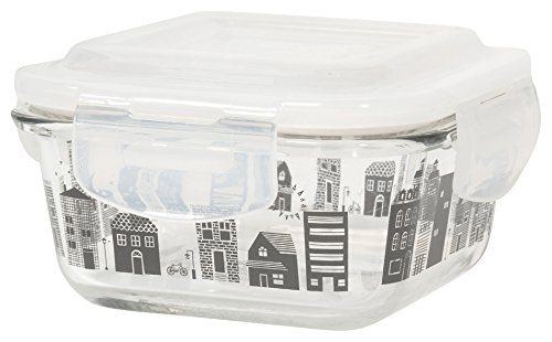 Now Designs 5082004aa Snack n Serve 4.5 Inch Glass Container with Lid, Set of Four, Hometown