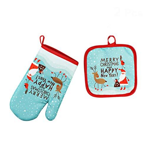BESTOYARD Weihnachten Topflappen Ofenhandschuhe Weihnachtsmann Rentier Merry Christmas Muster Hitzebeständige Grillhandschuhe Weihnachtsdeko 2 Stück