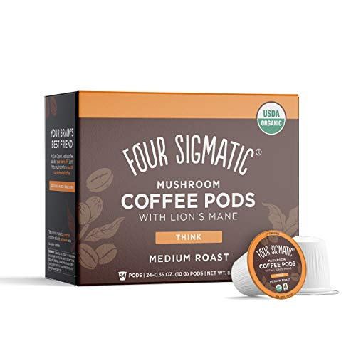 Four Sigmatic Mushroom Coffee K-Cups, Organic and Fair Trade Coffee with Lions Mane, Chaga, & Mushroom Powder, Focus & Immune Support, Paleo, 24 Count