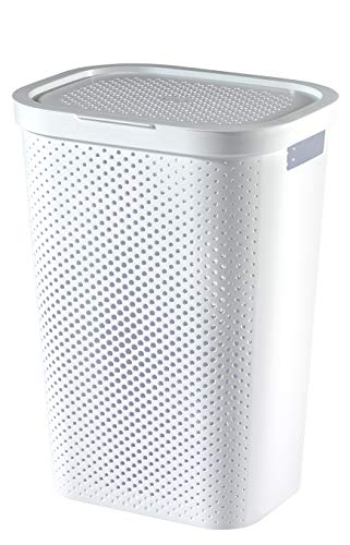 Curver Wasmand Infinity met stippenpatroon 59l in wit, kunststof, 44 x 36 x 61 cm, 6 stuks