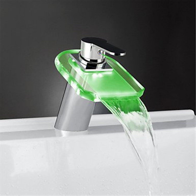 AA Faucet£? Glass color Waterfall Bathroom Sink Faucet Basin Temperature Mixer tap