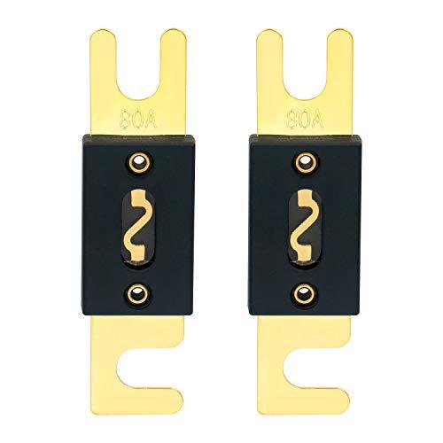Heschen ANL-Sicherung, 80A, für Kfz-Audiosysteme, goldfarben & schwarz, 2er-Pack