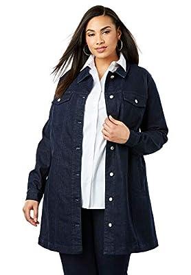 Jessica London Women's Plus Size Long Denim Jacket - 18 W, Indigo from Jessica London
