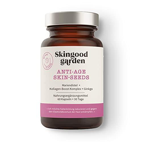 Skingood Garden Anti Age Skin•seeds – Skin Care Kapseln mit Kollagen Booster – natürliche Nahrungsergänzung für straffere Haut – 60 Kapseln