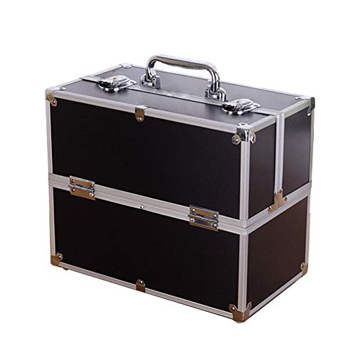 AUFUN Kosmetikkoffer mit 2 Klappschlössern Groß Schminkkoffer für Gepäck XXL 340 * 210 * 290mm Make-up Case aus Alu, Edelstahl (20L, Schwarz)