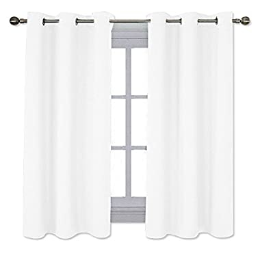 NICETOWN Home Decor Solid Grommet Draperies Curtains, 50% Light Blocking Curtains for Bedroom & Dining Room Window (Set of 2 Panels, 42  x 63 , Pure White)