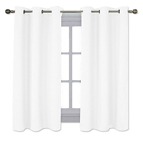 NICETOWN White Window Curtain Panels - 50% Light Blocking Curtains for Bedroom & Dining Room Window (Set of 2, 42 inches x 63 inches)