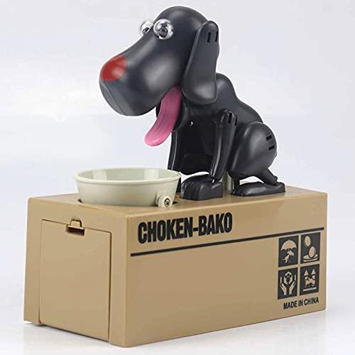 Hucha de perro pequeño, caja de ahorro de dinero, lindo banco de monedas de robo automático, gran regalo de cumpleaños para niños pequeños (perro negro)