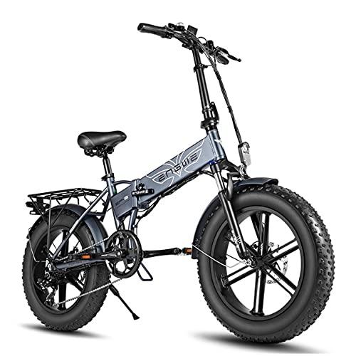 YIN QM Bicicleta eléctrica 20 * 4.0 Pulgadas 750W Motor Potente Bicicleta eléctrica 48V12.8A Bicicleta de montaña con neumáticos de Grasa Bicicleta eléctrica de Nieve,Gris