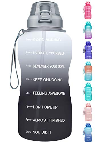 Fidus Large 1 Gallon/128oz Motivational Water Bottle with Time Marker & Straw,Leakproof Tritan BPA Free Water Jug,Ensure You Drink Enough Water Daily for Fitness-White/Gray Gradient