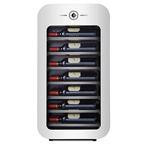 22 Botella de Vino refrigerante, refrigerador de Vino refrigerado con Control de Temperatura, refrigerador de Vino para el hogar pequeño, Pantalla Digital Puerta de Cristal de protección de Acero