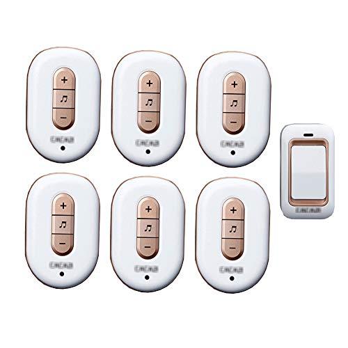 Lange afstand draadloze deurbel, intelligente IP44 waterdichte deurbelkit op afstand 36 melodie niveau 4 volume met 1 knop (zelfaangedreven) en 6 ontvangers,1