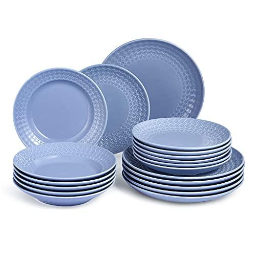 Sunting Van Well - Vajilla para 6 personas (porcelana, 18 piezas), diseño de rombos, color azul