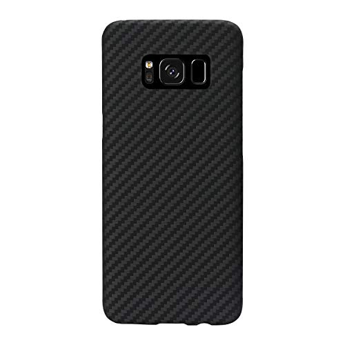 PITAKA Minimalist S8 Plus Case, Aramid Fiber[Real Body Armor Material]Super Slim 0.65mm Sturdy Durable Case Protective Snap-on Scratch Resistant Back Cover for Samsung Galaxy S8 Plus Black/Grey Twill