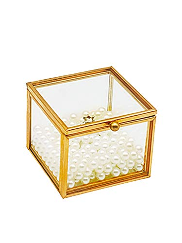 Engagement Glass Jewelry Box Organizer-Golden Square Vintage Handmade Ring Bearer Box for Wedding Decorative Home Decor