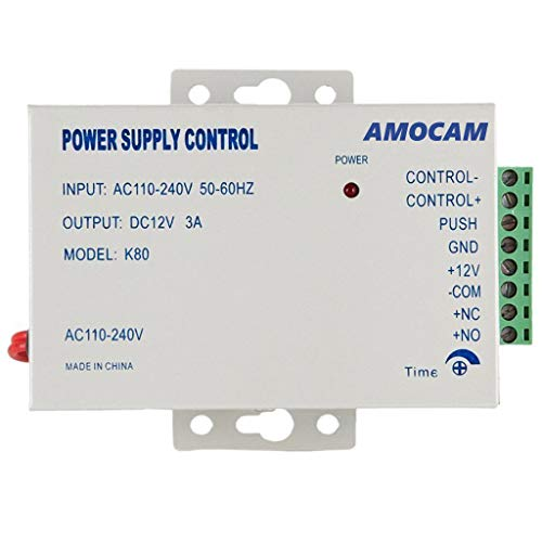 AMOCAM K80 Power Supply Control AC 110-240V to DC 12V Power Supply for Access Control System Video Intercom Electric Strike Bolt Magnetic Lock Video Door Phone Power Supply Controller