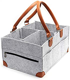 KOOLIFTS Baby Diaper Caddy Organizer (Large) Strong PU Leather Handles, 8 Pockets, Divider, Reinforced Corners | Special Great Gift for Newborns, Infants, Toddlers