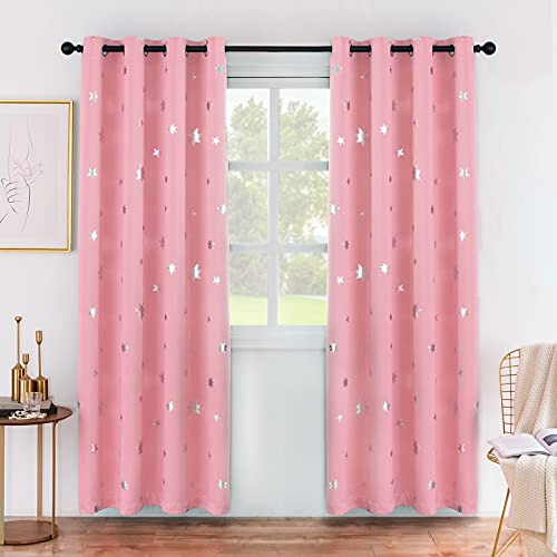 Anjee Girls Bedroom Pink Blackout Curtains Silver Star Curtains for Nursery Kids Room Darkening Thermal Insulated Window Curtains 52 x 84 Inches Each, 2 Panels