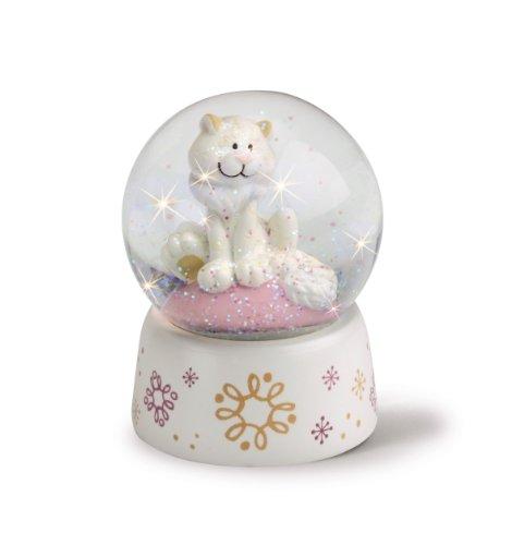 Nici 36096 - Schüttelkugel klein Schneeleopard Mädchen, 6.5 cm