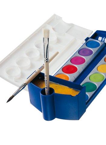 Pelikan Tuschkasten Komplett-Set incl. 2x Zeichenblock DIN A3 2x20 Blatt, 720250 Deckfarbkasten K12, 12 Farben + 1 Tube Deckweiß, Schul-Standard, Wasserbox 808246 für Pelikan Deckfarbkasten Schul-Standard blau, Pelikan 718163 - Pinsel Starterset mit 5 Stück Haarpinseln