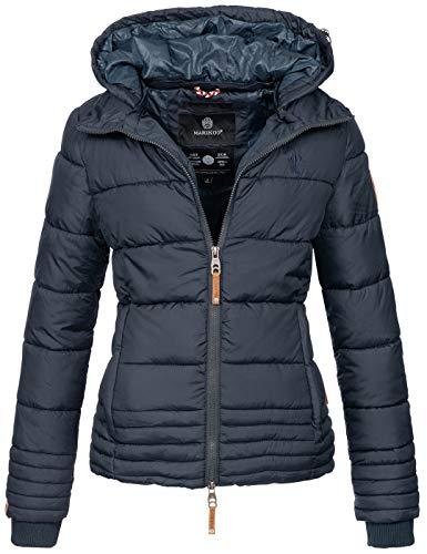 Marikoo Designer Damen Winter Jacke Steppjacke Winterjacke Stepp gesteppt B668 [B668-Sol-Navy-Gr.M]