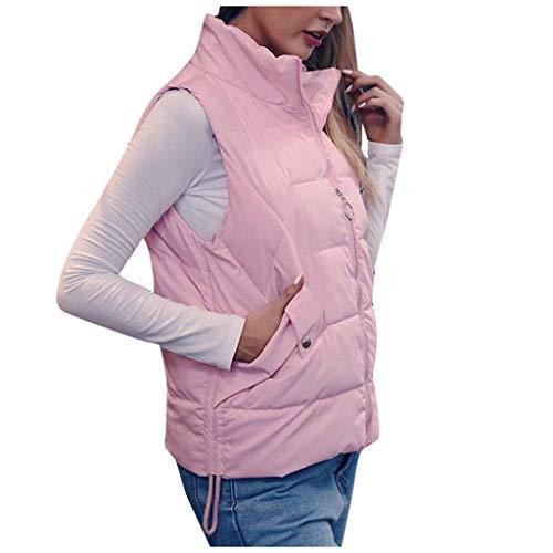 Veste MatelasséE De Fourrure Top Hui.Hui Womens Fashion Paragraphe Court Paragraphe sans Manches Zipper Pocket Cotton Vest Veste