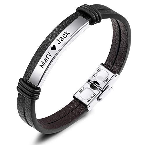 MeMeDIY Name Armband Personalisierte Armbänder für Frauen Armbänder für Jungen Männer Mädchen Edelstahl Echtes Leder Gravur Geflochtene Manschette Einstellbar (Silber Ton Etikett)