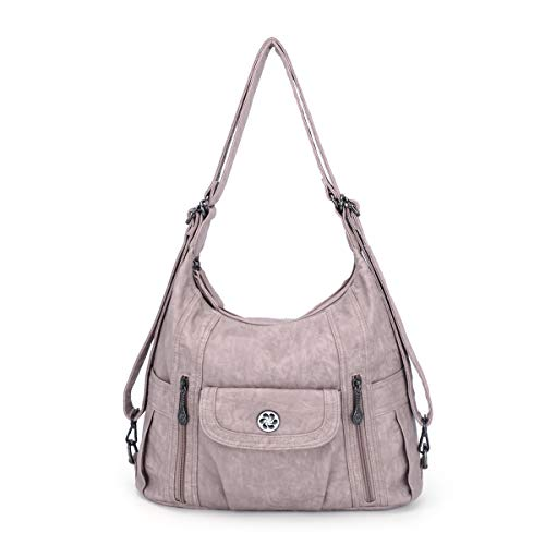angel kiss Satchel Handbag for Women, Ultra Soft Washed Vegan Leather Crossbody Bag, Shoulder Bag, Tote Purse (ZC0118#K022#4PURPLE2) (0118#K022#11PINK2)