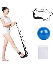 Yoga stretchband, Lre Co. justerbar bensträckningsövningsrem med Pilates boll och förvaringsväska, högelastisk fotledsbälte för bälte för sjukgymnastik, återhämtning, träning