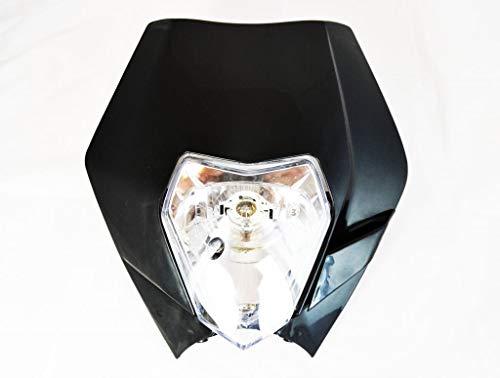 Schwarz Scheinwerfer mit Verkleidung für Motocross, Enduro , Supermoto, Trails & Streetfighter Motorrad Motorräder