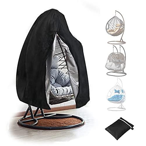 Gettop Wasserdichter Schaukelstuhlbezug - Hängesessel Schutzhülle - 210D Oxford Stoff Staubdichter Abdeckung - Schnelle Installation Und Einfache Lagerung (Schwarz)