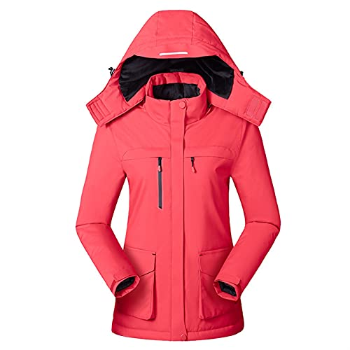 USB Warmer Heated Jacket for Women Lightweight Cycling Outerwear for Outdoor Camping Hiking Hunting Skiing (Color : Red, Size : XX-Large)