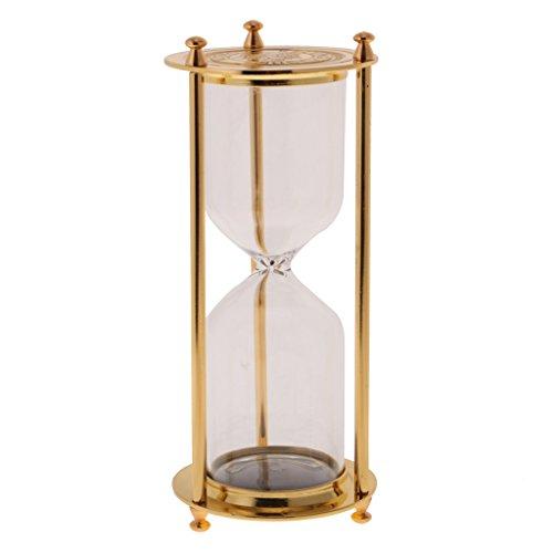 FLAMEER Sanduhr ohne Sand, Leere Zeitmesser mit Metallrahmen, Tisch Dekoration - Gold - S, 7 x 16 cm
