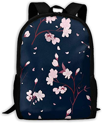 Lsjuee Plum Blossom Adult Travel Backpack School Bookbag Casual Daypack Oxford Outdoor Laptop Bag Computer Shoulder Bags