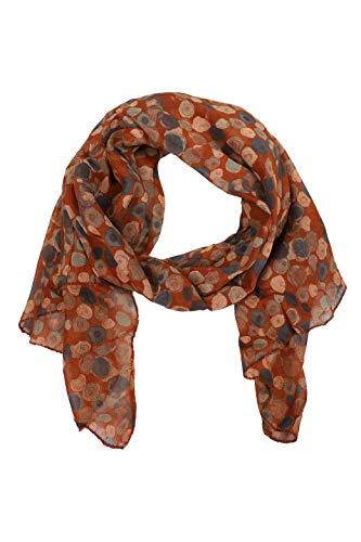 Zwillingsherz Seiden-Tuch im auffälligem Design - Hochwertiger Schal für Damen Mädchen - Halstuch - Umschlagstuch – Pashmina - Loop - weicher Schlauchschal für Frühjahr Sommer Herbst Winter - brau